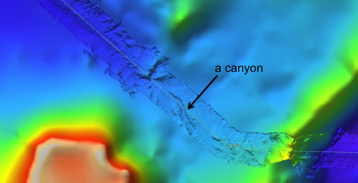 Detailed bathymetry measured by our ship has been laid over a coarser, pre-existing deep-ocean map. Note the canyon that appears on the highly resolved swath. The swath is about 10 km wide, the canyon is located around 3000 m depth.