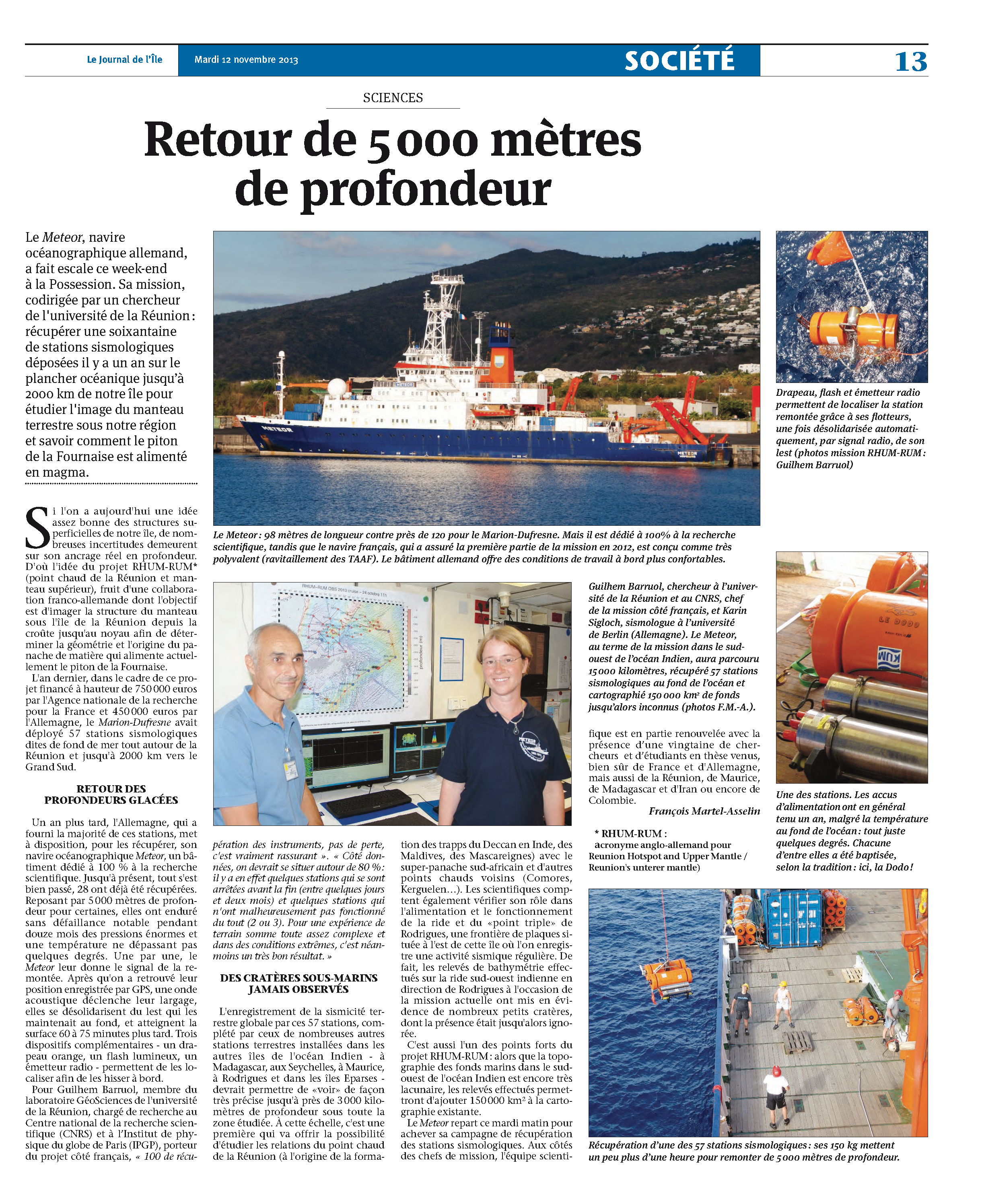 Journal de l'ile de La Reunion du 12 novembre 2013